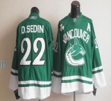 Vancouver Canucks St Patty\'s Day #22 Daniel Sedin Green Stitched NHL Jersey