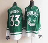 Vancouver Canucks St Patty\'s Day #33 Henrik Sedin Green Stitched NHL Jersey