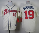 Atlanta Braves #19 Andrelton Simmons Cream Alternate Cool Base Stitched MLB Jersey