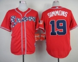 Atlanta Braves #19 Andrelton Simmons Red Cool Base Stitched MLB Jersey