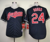Cleveland Indians #24 Michael Bourn Navy Blue Cool Base Stitched MLB Jersey
