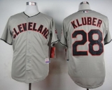 Cleveland Indians #28 Corey Kluber Grey Cool Base Stitched MLB Jersey