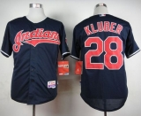 Cleveland Indians #28 Corey Kluber Navy Cool Base Stitched MLB Jersey