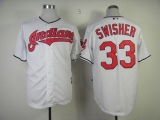 Cleveland Indians #33 Nick Swisher White Cool Base Stitched MLB Jersey