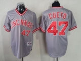 Cincinnati Reds #47 Johnny Cueto Grey 1991 Turn Back The Clock Stitched MLB Jersey
