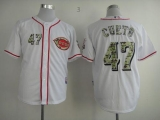 Cincinnati Reds #47 Johnny Cueto White USMC Cool Base Stitched MLB Jersey