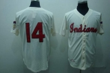 Mitchell and Ness Cleveland Indians #14 Larry Doby Stitched Cream Throwback MLB Jersey