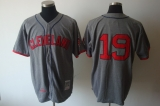 Mitchell and Ness Cleveland Indians #19 Bob Feller Grey Stitched Throwback MLB Jersey