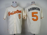 Mitchell And Ness 1970 Baltimore Orioles #5 Brooks Robinson Cream Throwback Stitched MLB Jersey