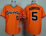 Mitchell and Ness 1975 Baltimore Orioles #5 Brooks Robinson Orange Throwback Stitched MLB Jersey