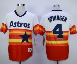Houston Astros #4 George Springer White Orange 1980 Turn Back The Clock Stitched MLB Jersey