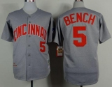 Mitchell And Ness 1969 Cincinnati Reds #5 Johnny Bench Grey Throwback Stitched MLB Jersey
