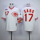 Mitchell And Ness 1990 Cincinnati Reds #17 Chris Sabo White Throwback Stitched MLB Jersey
