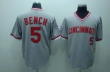 Mitchell and Ness Cincinnati Reds #5 Johnny Bench Stitched Grey Throwback MLB Jersey