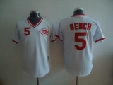 Mitchell and Ness Cincinnati Reds #5 Johnny Bench Stitched White Throwback MLB Jersey