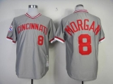 Mitchell And Ness Cincinnati Reds #8 Joe Morgan Grey Throwback Stitched MLB Jersey