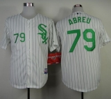 Chicago White Sox #79 Jose Abreu White Green Strip St Patrick\'s Day Stitched MLB Jersey