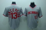Mitchell and Ness Cincinnati Reds #13 Dave Concepcion Stitched Grey Throwback MLB Jersey