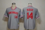 Mitchell And Ness Cincinnati Reds #14 Pete Rose Grey Throwback Stitched MLB Jersey