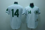 Mitchell and Ness Cincinnati Reds #14 Pete Rose Stitched White Green Patch Throwback MLB Jersey