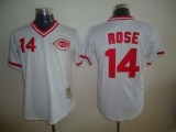 Mitchell and Ness Cincinnati Reds #14 Pete Rose Stitched White Throwback MLB Jersey