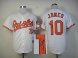 MLB Baltimore Orioles #10 Adam Jones Stitched White Autographed Jersey