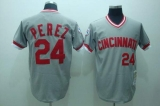 Mitchell and Ness Cincinnati Reds #24 Tony Perez Stitched Grey Throwback MLB Jersey