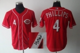 MLB Cincinnati Reds #4 Brandon Phillips Stitched Red Autographed Jersey