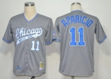 Mitchell And Ness 1969 Chicago White Sox #11 Luis Aparicio Grey Stitched Throwback MLB Jersey