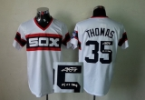 Mitchell And Ness 1983 Autographed MLB Chicago White Sox #35 Frank Thomas White Throwback Stitched Jersey
