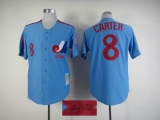 Autographed MLB Montreal Expos #8 Gary Carter Blue Stitched Jersey