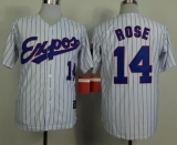Mitchell And Ness 1982 Expos #14 Pete Rose White Black Strip  Throwback Stitched MLB Jersey
