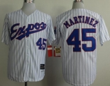 Mitchell And Ness 1982 Expos #45 Pedro Martinez White Black Strip Throwback Stitched MLB Jersey