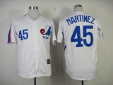 Mitchell And Ness Expos #45 Pedro Martinez White Throwback Stitched MLB Jersey