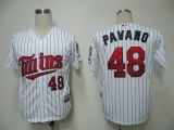 Minnesota Twins #48 Carl Pavano White Blue Strip Cool Base Stitched MLB Jersey