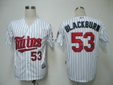 Minnesota Twins #53 Nick Blackburn White Blue Strip Cool Base Stitched MLB Jersey