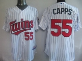 Minnesota Twins #55 Matt Capps White Blue Strip Cool Base Stitched MLB Jersey