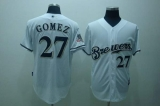 Milwaukee Brewers #27 carlos Gomez Stitched White Cool Base MLB Jersey
