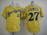 Milwaukee Brewers #27 Carlos Gomez Yellow Alternate Cool Base Stitched MLB Jersey