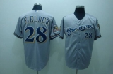Milwaukee Brewers #28 Prince Fielder Stitched Grey Cool Base MLB Jersey