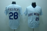 Milwaukee Brewers #28 Prince Fielder Stitched White Blue Strip MLB Jersey