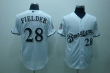 Milwaukee Brewers #28 Prince Fielder Stitched White Cool Base MLB Jersey