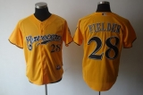 Milwaukee Brewers #28 Prince Fielder Yellow Cerveceros Cool Base Stitched MLB Jersey