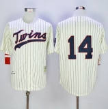 Mitchell And Ness 1969 Minnesota Twins #14 Kent Hrbek Cream Strip Throwback Stitched MLB Jersey