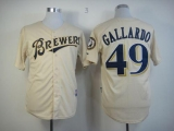 Milwaukee Brewers #49 Yovani Gallardo Cream YOUniform Cool Base Stitched MLB Jersey