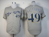 Milwaukee Brewers #49 Yovani Gallardo Stitched Grey MLB Jersey