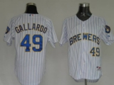 Milwaukee Brewers #49 Yovani Gallardo Stitched White Blue Strip MLB Jersey
