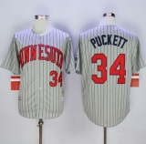 Mitchell And Ness 1987 Minnesota Twins #34 Kirby Puckett Grey Throwback Stitched MLB Jersey