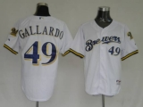 Milwaukee Brewers #49 Yovani Gallardo Stitched White MLB Jersey