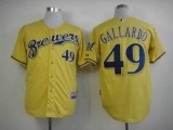 Milwaukee Brewers #49 Yovani Gallardo Yellow Alternate Cool Base Stitched MLB Jersey